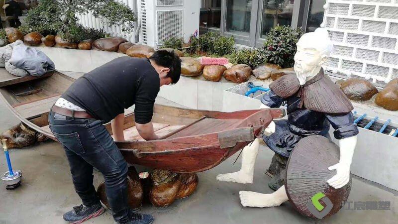 莲塘外婆家美食餐饮水池玻璃钢雕塑产品案例