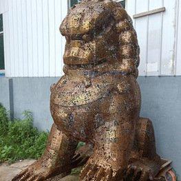 江西雕塑-不锈钢缕空狮子