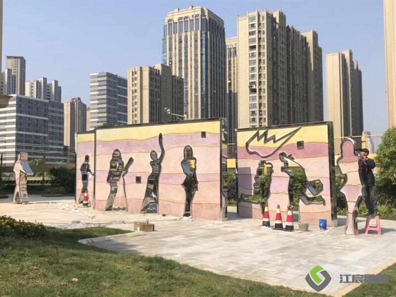 雕塑厂家案例:高新美术馆不锈钢景观配套工程 公园小区雕像制作