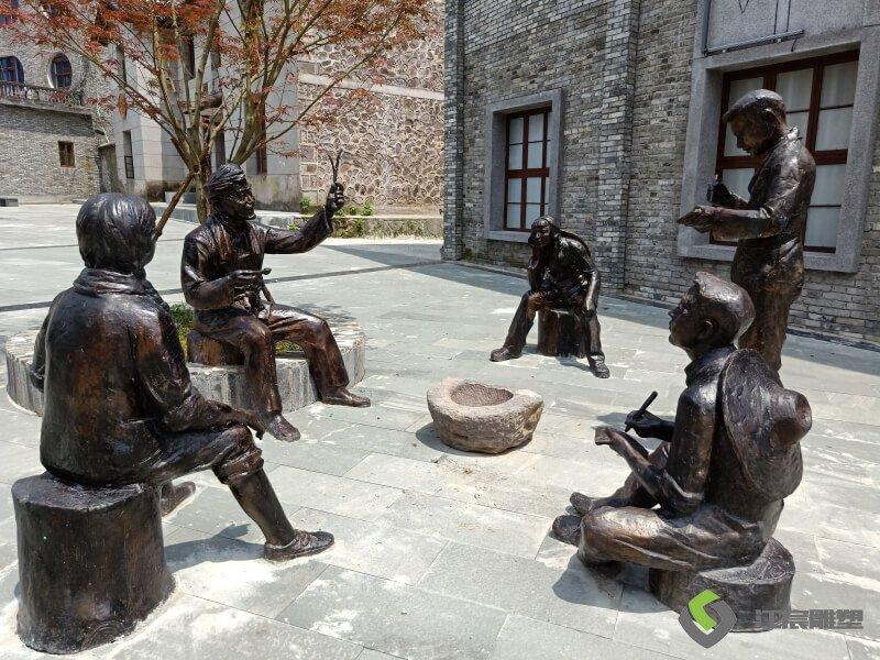 江西雕塑厂:靖安三爪仑知青小镇铸铜人物雕像 景区雕塑