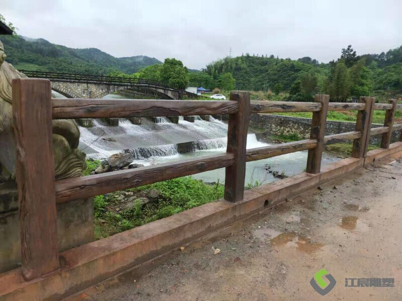 宜春温汤至明月山沿线河道仿木栏杆建设案例 景区农村景观提升工程