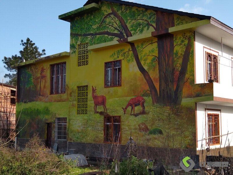 农村墙体彩绘工程案例-宜春温汤至明月山沿线景观提升项目
