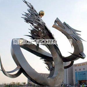 城市标志游龙戏珠不锈钢雕塑
