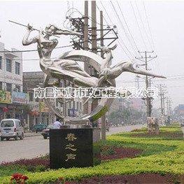 城市街道少女笛子与鹿不锈钢雕塑