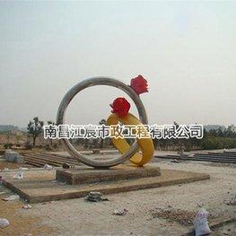 双戒子带花不锈钢雕塑立体建筑