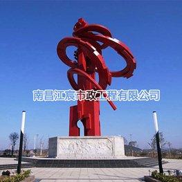 中国红纪念碑大型不锈钢雕塑