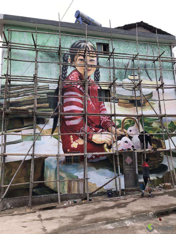 大型墙体彩绘小女孩外墙手工彩色绘画
