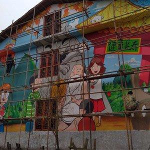 江西房屋墙体彩绘健康长寿主题绘画施工现场