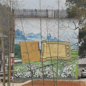 江西雕塑厂家古诗风墙体彩绘外墙彩色画