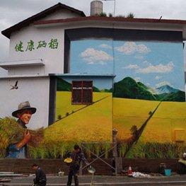 江西南昌墙体彩绘厂家农村秋收硒稻主题外墙绘画