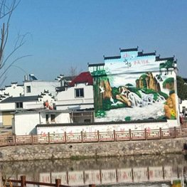 徽式建筑中国山水画外墙体彩绘-江西南昌雕塑厂家