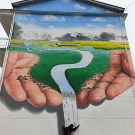 农村丰收高墙3D仿真田园流水墙体彩绘