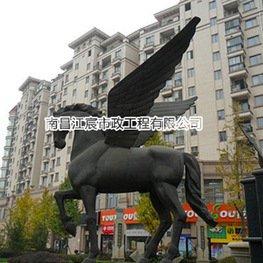 小区广场飞马造型铸铜雕塑水池景观