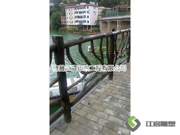 栏杆树木造型水泥雕塑