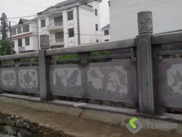 江西南昌雕塑厂:城市河流护栏石材雕塑