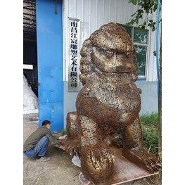 江西南昌雕塑厂:不锈钢编制工艺狮子