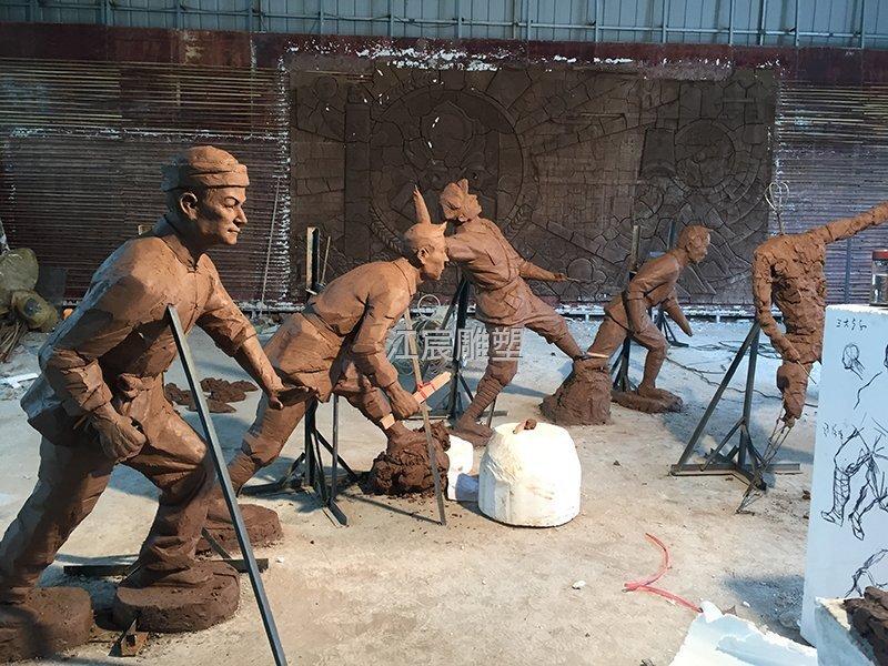 金溪县后龚红军玻璃钢雕塑