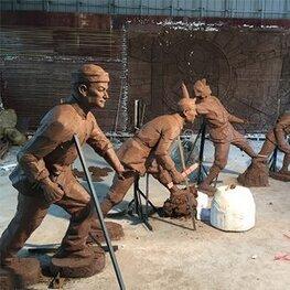 金溪县后龚红军玻璃钢雕塑 人物雕像